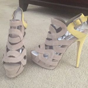 Taupe & yellow sandals